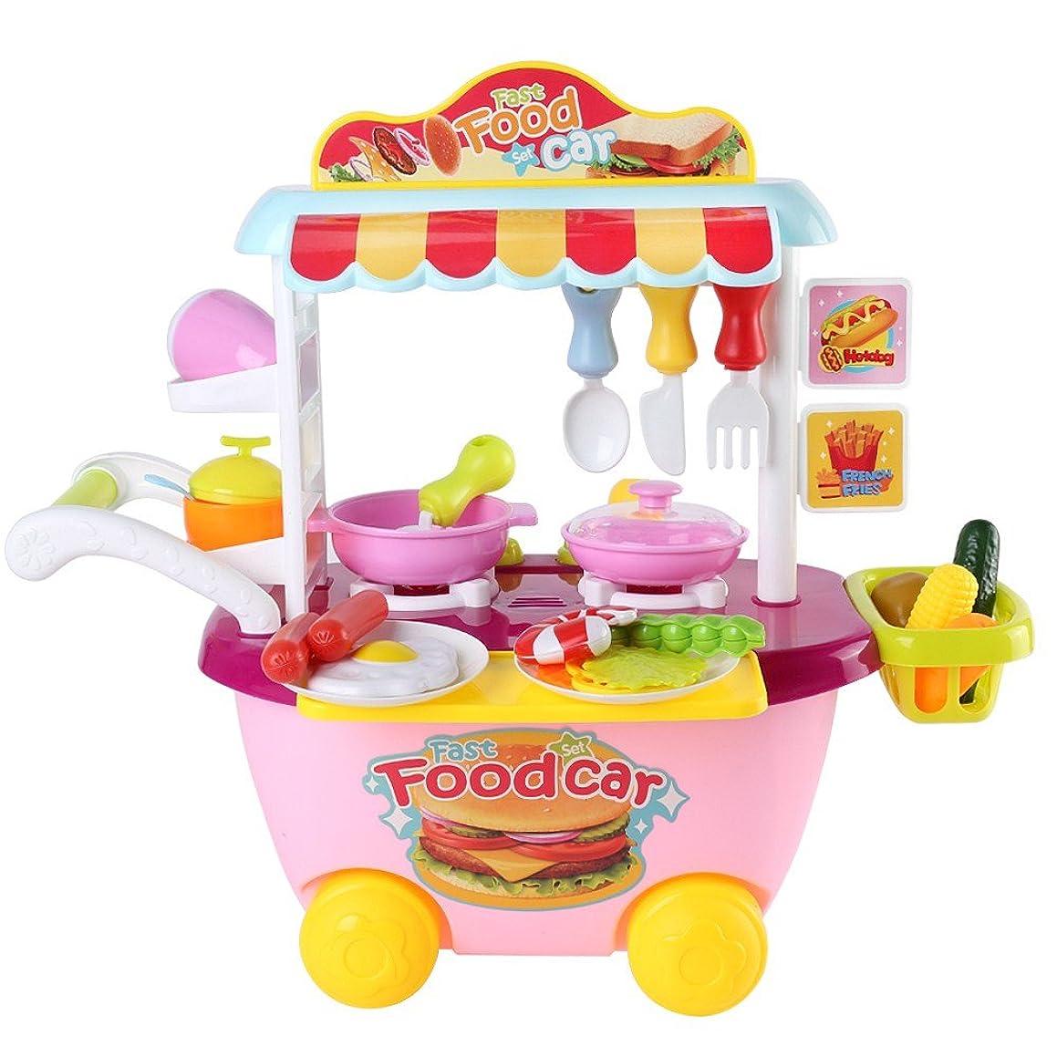 雑種順応性マウントホームキッチンピンクキッズ子供Fun PlayセットCooking Play教育玩具ごっこ遊びベストクリスマスギフト
