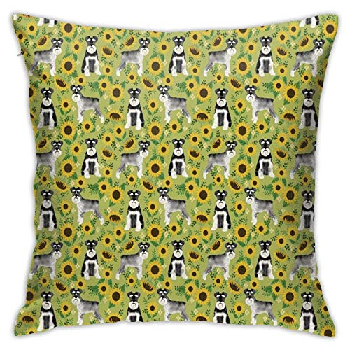 longdai Schnauzer - Funda de almohada de microfibra con cremallera, diseño de perro y girasol, 45 x 45 cm, color verde