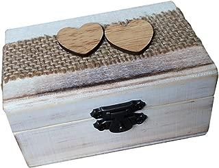 Vintage Caja de Anillo de Madera en Forma Corazón Envase para Boda Fiesta Portador de Anillos