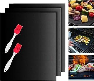 Estera para Parrilla, Chuangmeida Estera de Barbacoa Barbecue Grill Alfombras de cocina para hornear a gas carbón horno y parrillas eléctricas Láminas de barbacoa para asar carne, silicona gratis