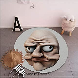 Fashion Round Floor Mats,Grumpy Internet Troll Face with Trippy Gestures Ugly Post Meme Joke Image Decorative Egg Shell and Tan,35.4inches,Washable Round Area Mat for Living Room Bedroom