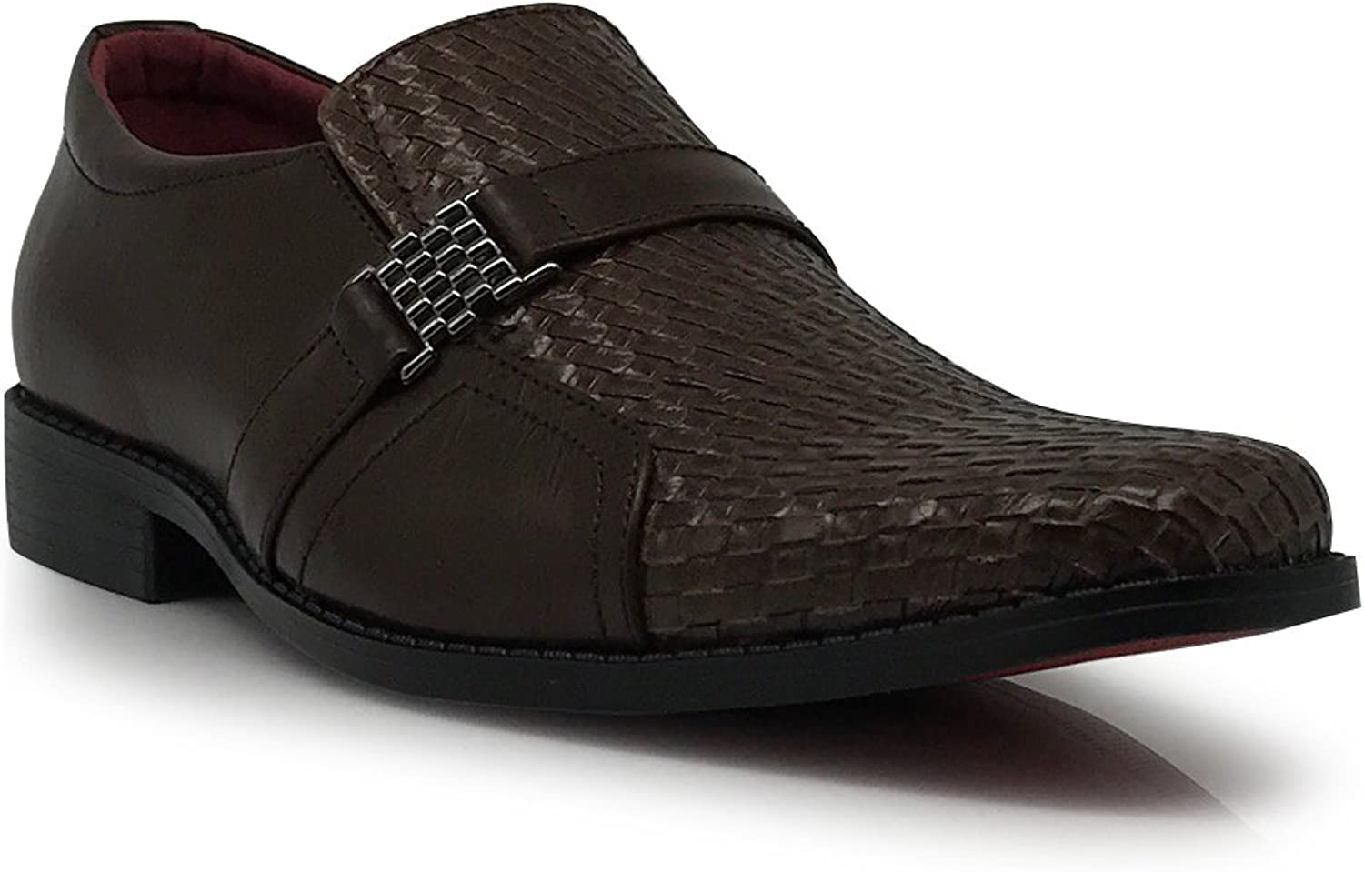 Enzo Romeo Gator05 Men's  Business Woven Weaved Leather Loafers with Buckle Slip On Style shoes