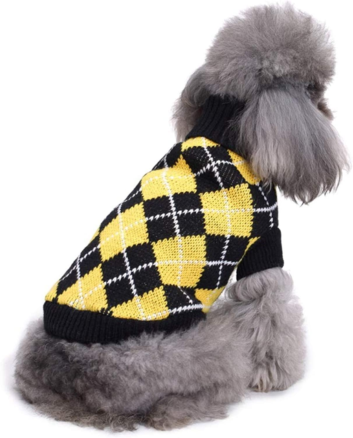 AUSWIEI Pet Clothes Sweaters Striped Turtleneck Dog Clothes Dog Sweaters Autumn and Winter (color   MYD02 Black Yellow Grid, Size   S)