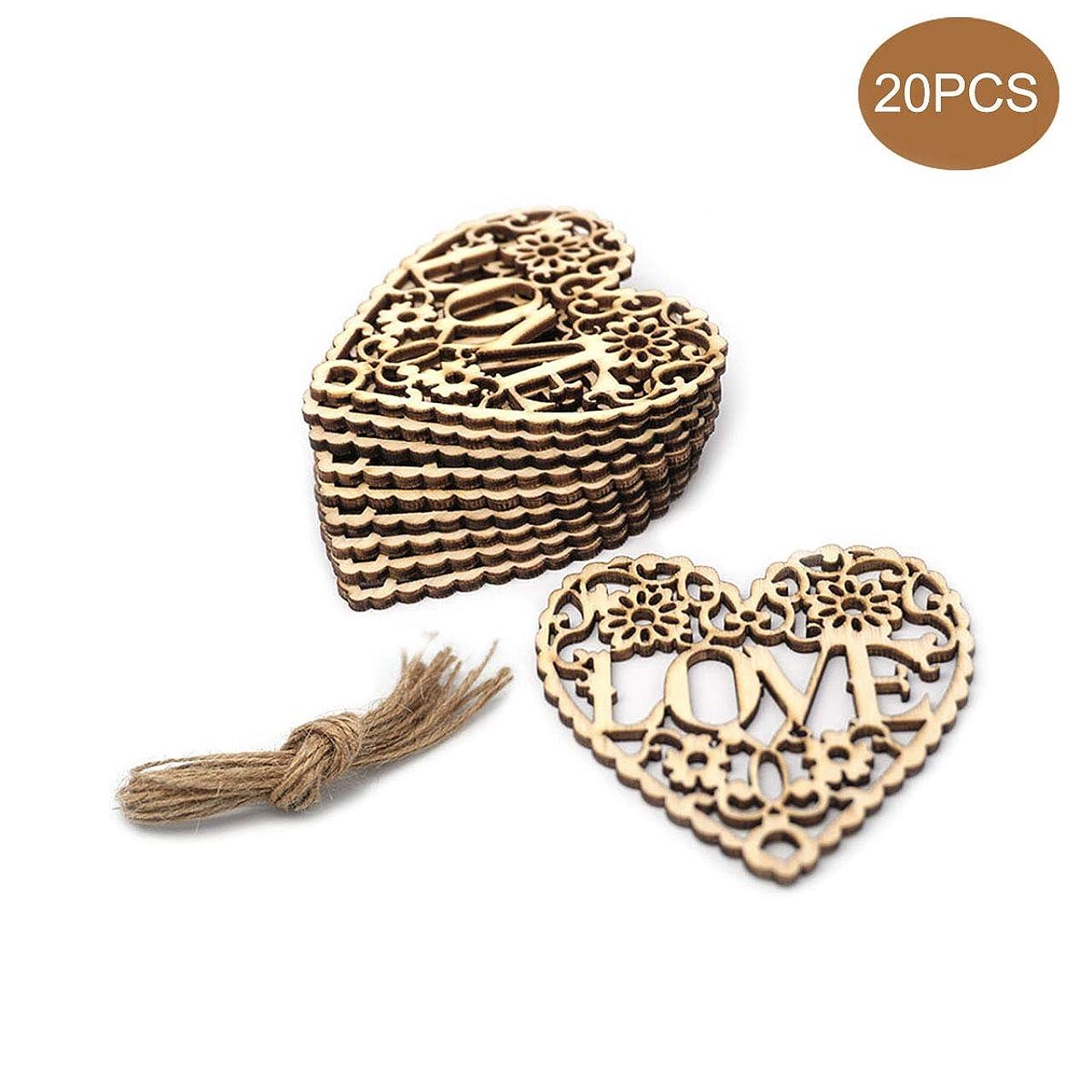 20PCS Heart Shaped Wooden Embellishments,