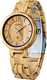 Wood Watches for Women/Men, BEWELL Wooden Handmade Watch with Lightweight Adjustable Wood Band, Natural Casual Fashion Quartz Wristwatch