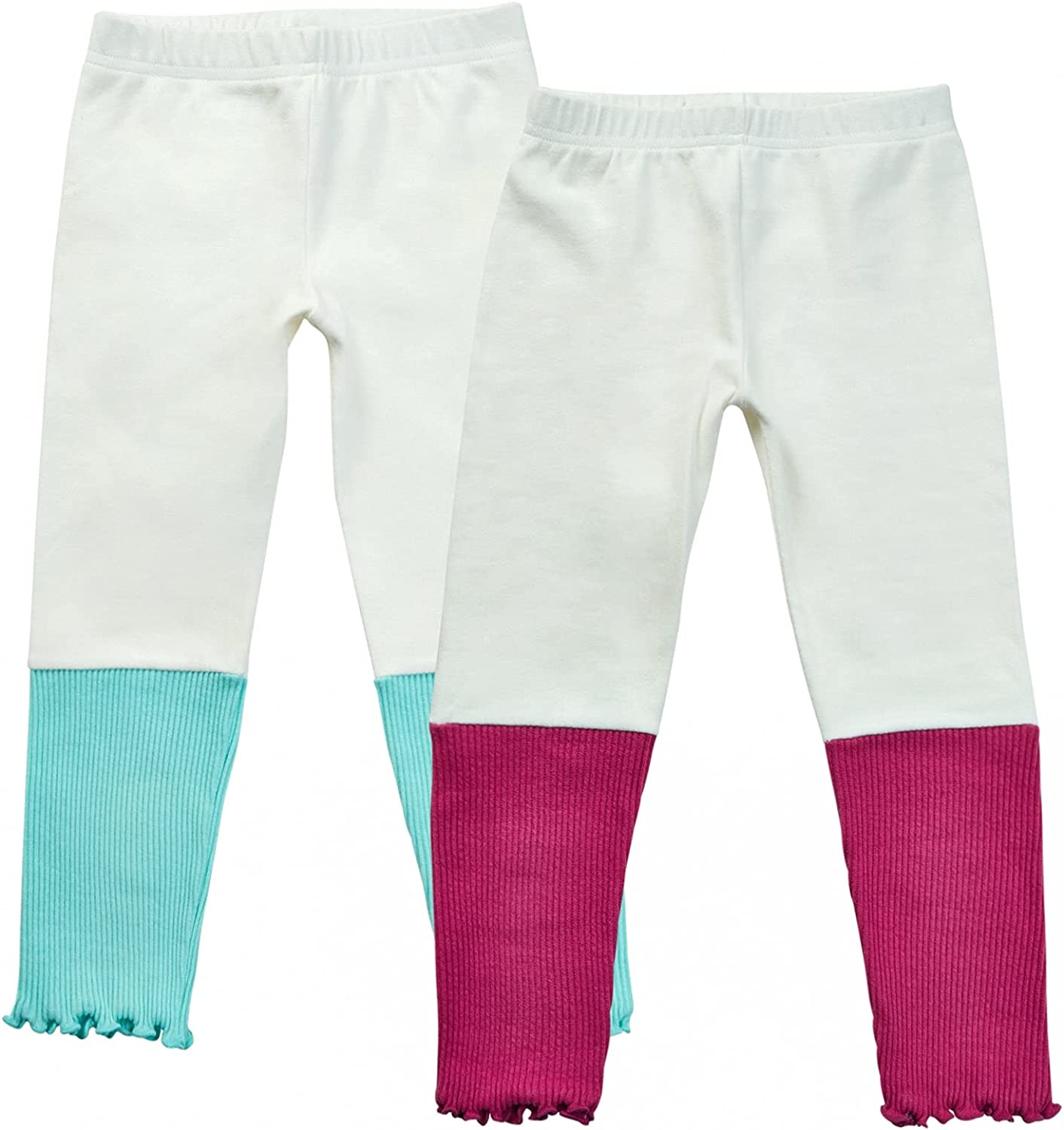 Chatter Carrot Little Girls' Mix and Match Casual Leggings 2 Pack Toddler & Kids