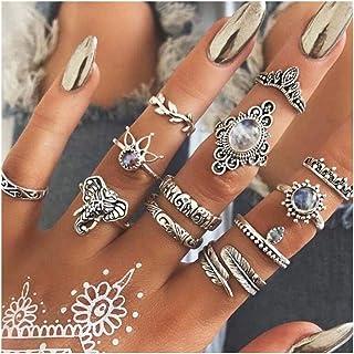 Barode Vintage Joint Knuckle Rings Set Silver Boho Elephant Finger Ring Set Decor Blue Gemstone Rhinestone Stackable Hand ...