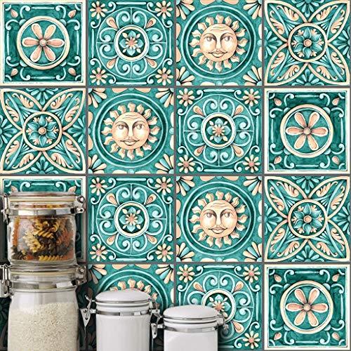 Zcxbhd Tegel Sticker Vierkant Waterdicht Vlak Bedrukte Muursticker Voor Keuken Badkamer Art Decoratie 10 Stks