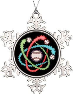 Larmai Atomic Baseball Decorative Christmas Snowflake Ornament for Christmas Tree