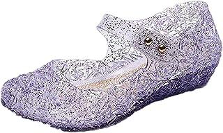 GenialES Disfraz Sandalias de Vestido con Tacón Plástico Princesa Queen Balnco para Cumpleaños Carnaval Fiesta Cosplay Hal...