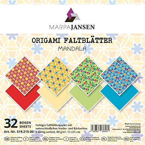 MarpaJansen 519.215-00 Faltblätter aus Motivpapier-Origamipapier-4-farbig Sortiert-(15 x 15 cm, 32 Bogen, 80 g/m²) -Mandala, Mehrfarbig, One Size
