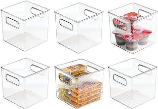 mDesign boite en plastique sans BPA (lot de 6) – boite pour frigo pour ranger les aliments – caisse de rangement avec poig...