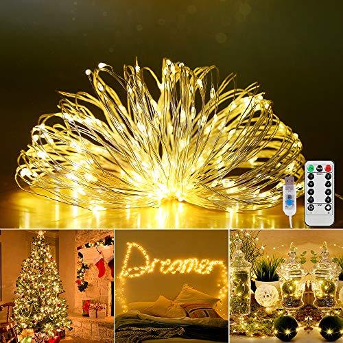 Led Lichterkette,20M 200 LEDs USB lichterkette mit Fernbedienung,8 Modi Lichterkette Draht Wasserdicht Led Lichterkette für Zimmer, Weihnachten, Kinderzimmer, Außen, Party, Hochzeit, DIY usw.