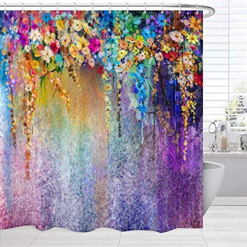 BROSHAN Watercolor Flower Shower Curtain Set, Spring Abstract Flower Wisteria Blossoms Art Painting Bathroom Bathtub Curtain 84 inch, Purple Waterproof Bathroom Decor Set with Hooks