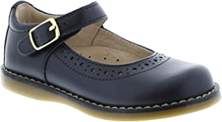 FOOTMATES Girl's Heather Hook-and-Loop Perf Mary Jane (Infant/Toddler/Little Kid) Navy Pearlized