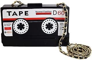 Kuang Women's Vintage Cassette Tape Shaped Shoulder Clutch Acrylic Elegant Evening Shoulder Bag