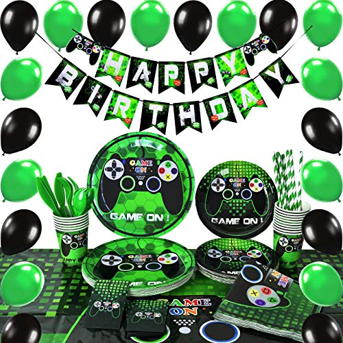 WERNNSAI Video Game Party Supplies - Gaming Party Decoration Boys Birthday Party Cutlery Bag Table Cover Plates Cups Napkins Straws Utensils Birthday Banner & Balloons Serves 16 Guests 169 PCS