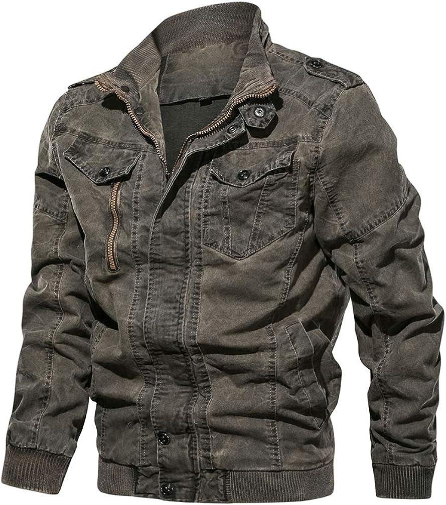 Lavnis Long-awaited Columbus Mall Men's Cotton Cargo Jacket Casual Collar Stand Ja Military