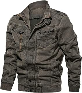 Zhusheng Mens Casual Button Military Sherpa Fleece Lined Cargo Jacket Fur Collar Warm Coat Outwear
