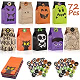Viccess 72 Bolsas de Papel de Halloween Bolsa para Regalos con Halloween Stickers Bolsas de Dulces para Fiestas de Halloween Decoracion