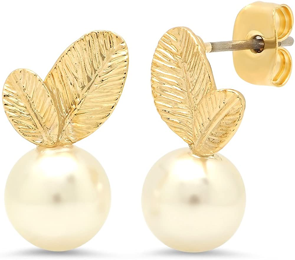 Bridesmaid Gifts - Cute Simulated Pearl Earrings (8mm, 24k Gold Plated)