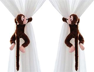 Lot de 2 Embrasse à Rideaux Mignon pour Chambre d'enfant Crochets de Rideau Singe Peluche Boucle à Rideaux Décoration de F...