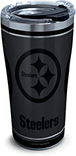 Tervis 1332547 NFL 100-Pittsburgh Steelers Stainless Steel Insulated Tumbler with Clear and Black Hammer Lid, 20 oz, Silve...