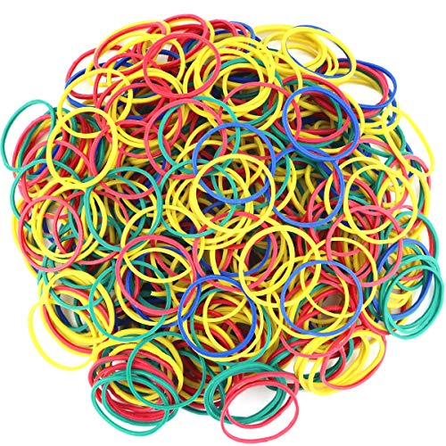 Twdrer 1000PCS 1'/2.5cm Small Assorted Mixed Multicolored Rainbow Colorful Strong Elastic Rubber Bands Money Rubber Bands Stationery Holder for School,Home,Office Supplies