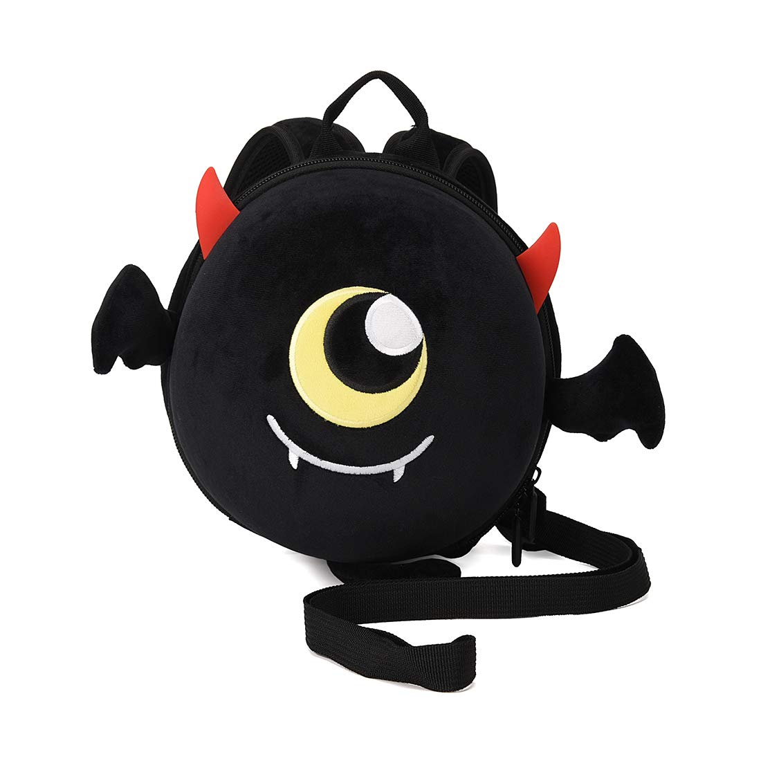 Baby Boy Backpack with Leash Unisex Backpack with Safety Harness Plush Anti Lost Bag with Detachable Tether Daycare (Black)