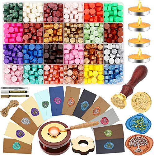 Sealing Wax Kit,West Bay 650pcs Wax Letter Seal Kit with 24 Colors Wax Seal Beads, Sealing Wax Warmer, Vintage Envelopes, 2 Wax Stamp,Spoon Holder Metallic Pen for Wax Seal, Crafts and Decoration