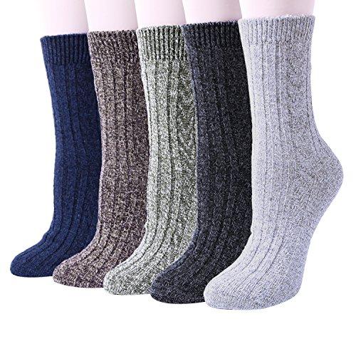 Chalier 5 Paar Damen Winter Wollesocken, atmungsaktive weiche dicke Socken - bunte Farbe Premium Qualität klimaregulierende Wirkung, Einheitsgröße, Mehfarbig -A10