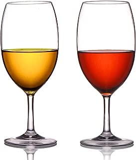MICHLEY Unbreakable Wine Glasses, 100% Tritan Plastic Shatterproof Wine Glasses, BPA-free, Dishwasher-safe 20 oz, Set of 2