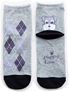 Sports Socks Thickening Diamond-Shaped Cotton Women's Socks in Stockings - 5 Pairs Autumn and Winter with Puppy Socks (Color : Schnauzer)