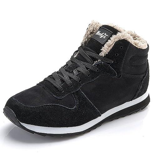 Winterschuhe Herren Damen Warm Gefüttert Boots Schneestiefel Winterstiefel  Winter Sneaker Schwarz Blau 35-46 aef3ab8446