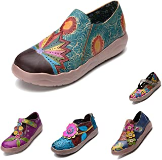 gracosy Leather Loafer Flats, Women's Leather Slippers Vintage Handmade Slip On Retro Flower Pattern Oxford Dress Shoes