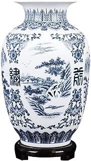 JF-XUAN Blue and White Porcelain Matte Vase Living Room Shelf Decoration Living Room Vase Retro Landscape Matte Blue and W...