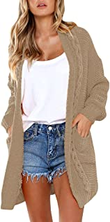 Huiyuzhi Womens Cardigan Sweaters Oversized Knit Open Front Chunky Boyfriend Cardigans Coats with Pockets