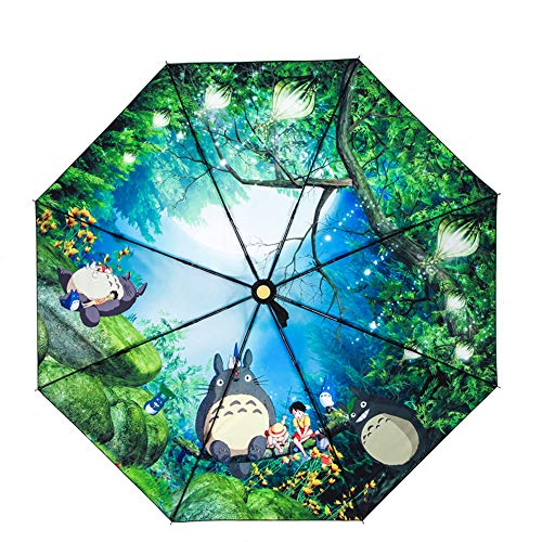 Totoro Automatischer Regenschirm Illustration Handbemalt Windschirm Sonnenschirm Doppelnutzung Faltbar Niedlich Sonnenschutz