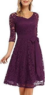 KOJOOIN Damen Kleider Spitzenkleid Brautjungfernkleid für Hochzeit Abendkleider Elegant Knielang CocktailkleidVerpackung MEHRWEG