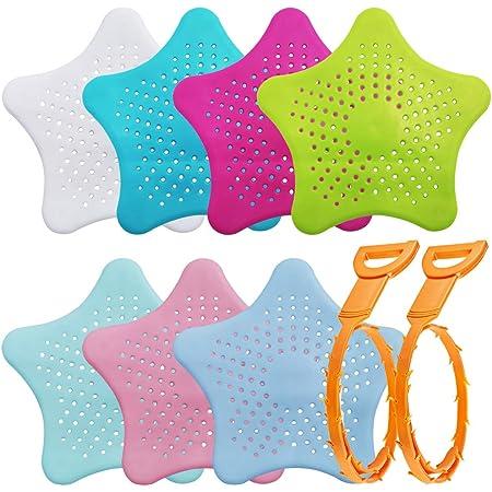 Collecteur de cheveux en silicone 7 pièces avec 2 débouchoirs pour cheveux, couvercles de douche AIFUDA Filtre pour évier pour baignoire de cuisine et salle de bain-7 couleurs