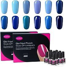 CLAVUZ Gel Polish Kit 12pcs Soak Off Blue Nail Polish Salon Beauty Nail Art Manicure New Starter Gift Set