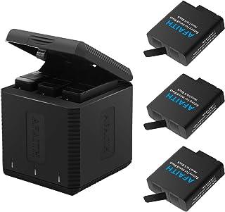 AFAITH Cargador de batería para Gopro Base de Carga Triple con 3 baterías de reemplazo Caja de Carga múltiple Type-C Organizador de Almacenamiento de batería para GoPro Hero 8/7/6/5 BlackHero 2018