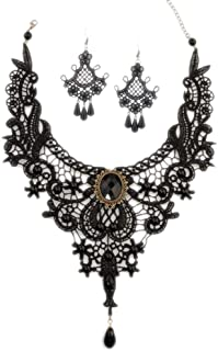 Aysekone Steampunk Black Lace Gothic Victorian Lolita Pendant Choker Necklace Earrings Set