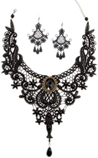 Aysekone Steampunk Black Lace Gothic Victorian Lolita Pendant Choker Necklace Earrings Set