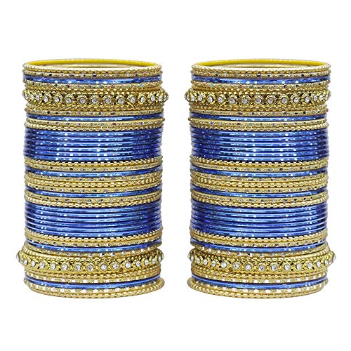 MUCH-MORE Traditional Colourful Metal Bangles For Karva Chauth & Wedding Use For Women & Girls (Blue, 2.8)