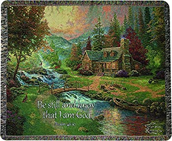 Manual Woodworkers & Weavers Tapestry Throw Psalm 46 10 50 x 60-Inch Mountain Paradise Scripture