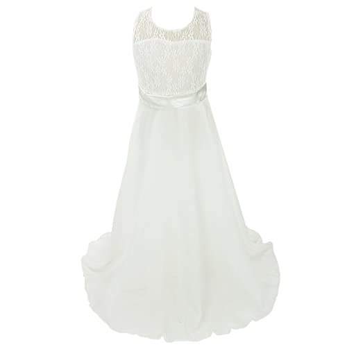 cb1c101c95 Discoball Girls Lace Dress Chiffon Gown Dress Floor Length Dress Wedding  Bridesmaid Flower Girl Long Dress