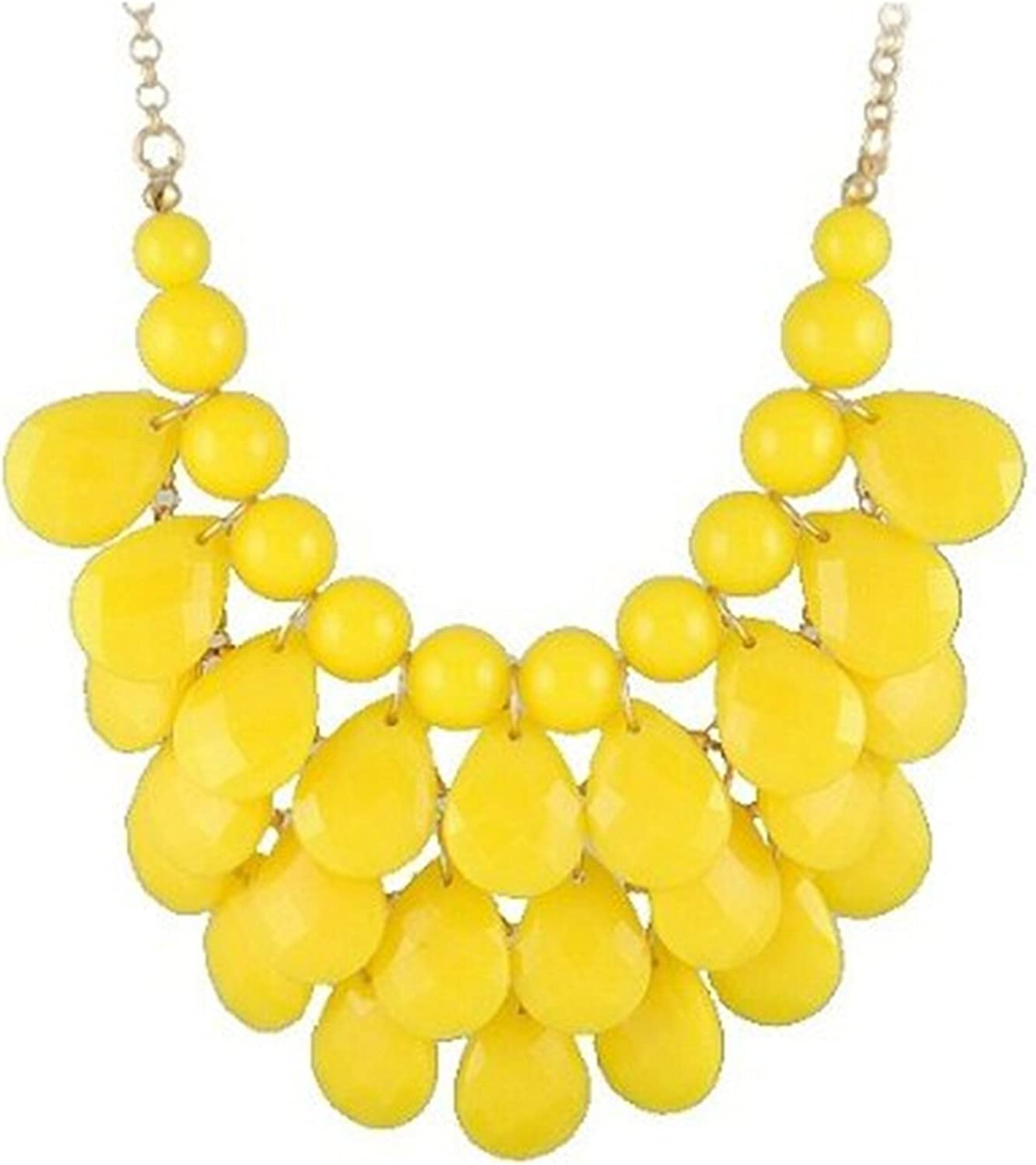 yellow 3 row teardrop Statement Jewelry Chunky Bubble Japan Maker New Necklace Year-end annual account