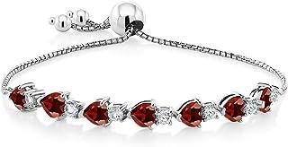 Gem Stone King 925 Sterling Silver Red Garnet Adjustable Tennis Bracelet For Women (4.62 Cttw, Heart Shape 5MM, Gemstone Birthstone, Fits up to a 9.5 Wrist)