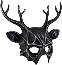 Metallic Finish Pagan Horned God Half Face Costume Mask Cernunnos